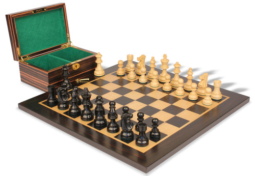 "French Lardy Staunton Chess Set Ebonized and Boxwood Pieces with Macassar Ebony Chess Board and Box 2.75"" King"