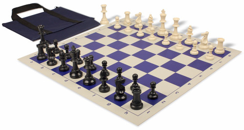 Standard Club Easy-Carry Weighted Plastic Chess Set Black & Ivory Pieces with Blue Roll-up Chess Board & Bag