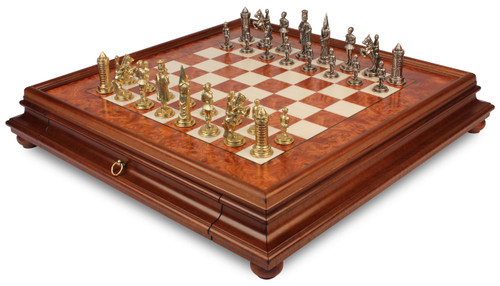 Camelot Theme Chess Set Brass & Nickel Pieces with Elm Burl Chess Case