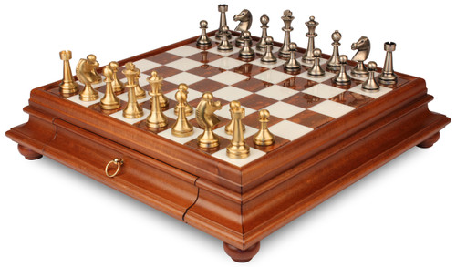 Large Staunton Brass Chess Set with Alabaster Chess Case