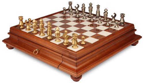 Contemporary Solid Brass Chess Set with Alabaster & Wood Chess Case