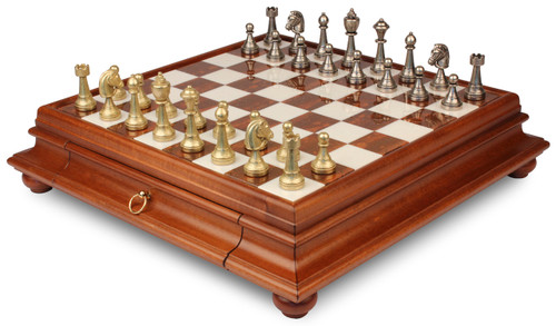 Classic Staunton Metal Chess Set with Alabaster Chess Case