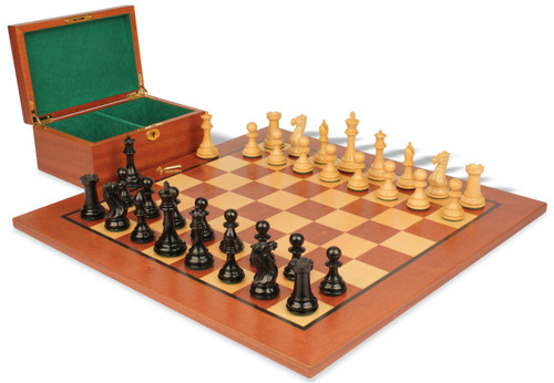 "New Exclusive Staunton Chess Set Ebonized & Boxwood Pieces with Mahogany Board & Box  - 4"" King"