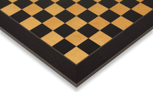 """Black & Ash Burl High Gloss Deluxe Chess Board 1.5"""" Squares"""