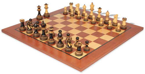 """Parker Staunton Chess Set in Burnt Boxwood with Classic Mahogany Chess Board - 3.75"""" King"""