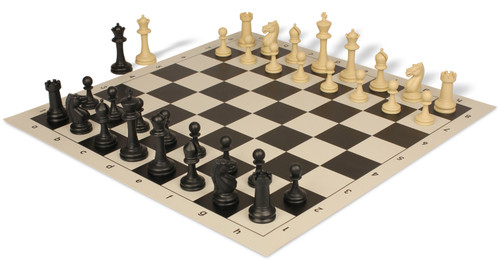 Master Series Weighted Plastic Chess Set Black & Tan Pieces with Black Roll-up Chess Board