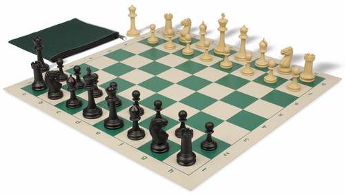 Master Series Classroom Weighted Plastic Chess Set Black & Tan Pieces with Green Roll-up Chess Board & Bag