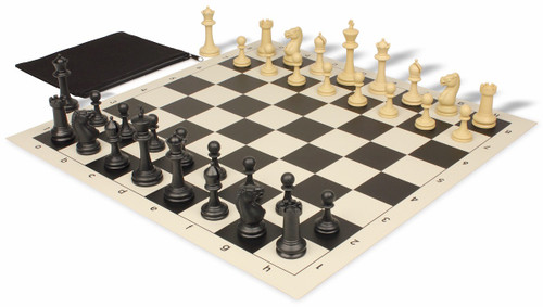Master Series Classroom Weighted Plastic Chess Set Black & Tan Pieces with Black Roll-up Chess Board & Bag