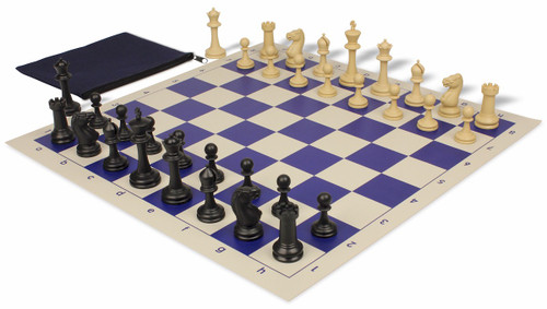 Master Series Classroom Weighted Plastic Chess Set Black & Tan Pieces with Blue Roll-up Chess Board & Bag