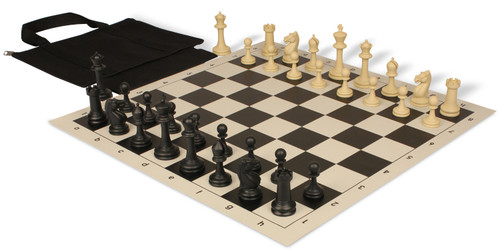 Master Series Easy-Carry Weighted Plastic Chess Set Black & Tan Pieces with Black Roll-up Chess Board & Bag