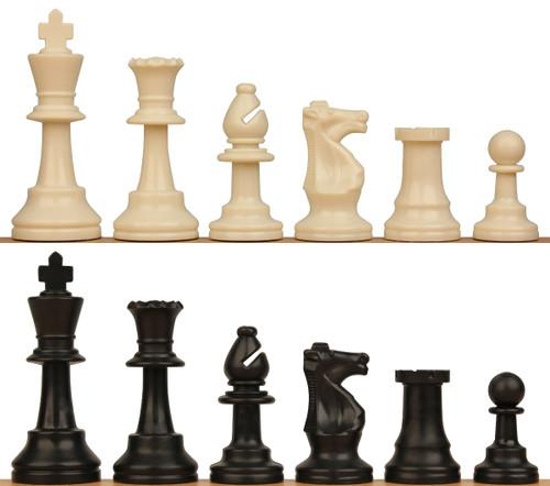 "Analysis Size Standard Club Plastic Chess Set Black & Ivory Pieces - 3"" King"