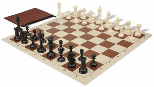 Club Tourney Classroom Plastic Chess Set Black & Ivory Pieces with Brown Roll-up Chess Board & Bag