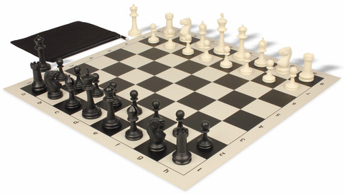 Club Tourney Classroom Plastic Chess Set Black & Ivory Pieces with Black Roll-up Chess Board & Bag
