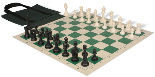 Club Tourney Easy-Carry Plastic Chess Set Black & Ivory Pieces with Green Roll-up Chess Board & Bag