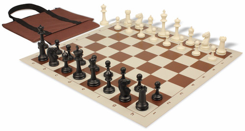 Club Tourney Easy-Carry Plastic Chess Set Black & Ivory Pieces with Brown Roll-up Chess Board & Bag