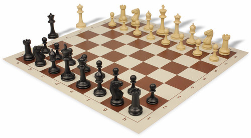 Club Tourney Series Plastic Chess Set Black & Camel Pieces with Brown Roll-up Chess Board