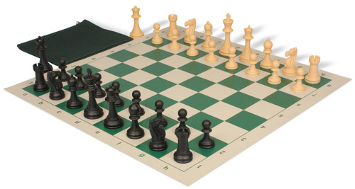Club Tourney Classroom Plastic Chess Set Black & Camel Pieces with Green Roll-up Chess Board & Bag