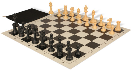 Club Tourney Classroom Plastic Chess Set Black & Camel Pieces with Brown Roll-up Chess Board & Bag
