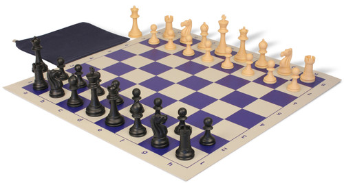 Club Tourney Classroom Plastic Chess Set Black & Camel Pieces with Blue Roll-up Chess Board & Bag