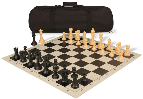 Club Tourney Carry-All Plastic Chess Set Black & Camel Pieces with Black Roll-up Chess Board & Bag