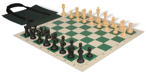 Club Tourney Easy-Carry Plastic Chess Set Black & Camel Pieces with Green Roll-up Chess Board & Bag