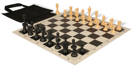 Club Tourney Easy-Carry Plastic Chess Set Black & Camel Pieces with Black Roll-up Chess Board & Bag