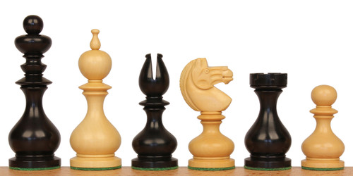 Dublin 1870 Antique Reproduction Chess Set Ebonized & Boxwood Pieces