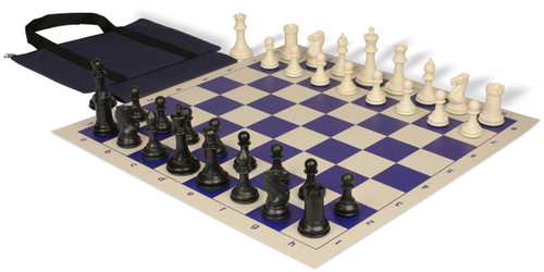 Conqueror Easy-Carry Plastic Chess Set Black & Ivory Pieces with Blue Roll-up Chess Board & Bag