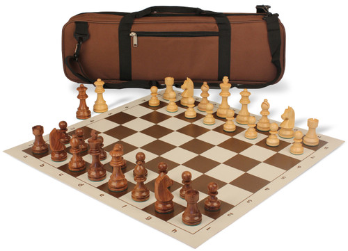 German Knight Carry-All Chess Set Package Acacia & Boxwood Pieces - Brown
