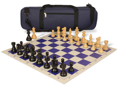 French Lardy Carry-All Chess Set Package Ebonized & Boxwood Pieces - Blue