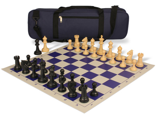 Guardian Carry-All Plastic Chess Set Black & Camel Pieces with Blue Roll-up Chess Board & Bag