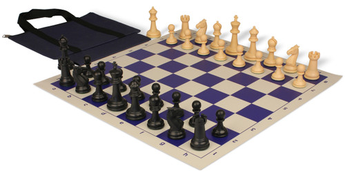 Guardian Easy-Carry Plastic Chess Set Black & Camel Pieces with Blue Roll-up Chess Board & Bag