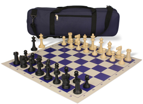 Park Game Carry-All Plastic Chess Set Black & Sandal Pieces with Blue Roll-up Chess Board & Bag