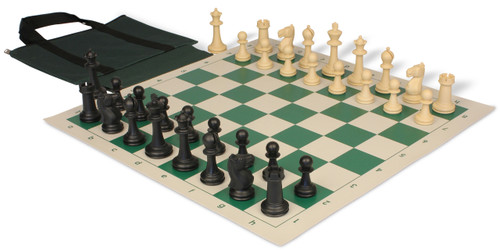 Park Game Easy-Carry Plastic Chess Set Black & Sandal Pieces with Green Vinyl Roll-up Chess Board