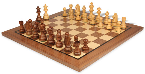 """German Knight Staunton Chess Set Acacia and Boxwood Pieces 3.75"""" King with Walnut Chess Board View 1"""