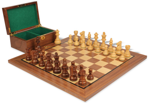 """French Lardy Staunton Chess Set Acacia and Boxwood Pieces with Walnut Chess Board and Box 3.25"""" King"""