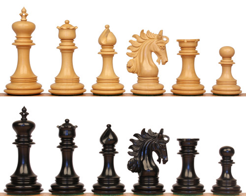"Marengo Staunton Chess Set with Ebony & Boxwood Pieces - 4.25"" King"