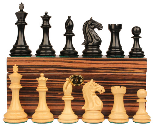"Fierce Knight Staunton Chess Set Ebony & Boxwood Pieces with Macassar Ebony Chess Box - 3"" King"