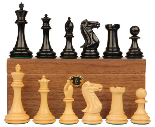 "New Exclusive Staunton Chess Set Ebony & Boxwood Pieces with Walnut Chess Box  - 3.5"" King"