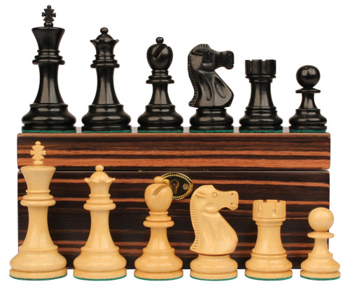 "Deluxe Old Club Staunton Chess Set Ebonized & Boxwood Pieces with Macassar Ebony Chess Box - 3.75"" King"