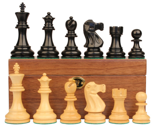 "Deluxe Old Club Staunton Chess Set Ebonized & Boxwood Pieces with Walnut Chess Box - 3.75"" King"