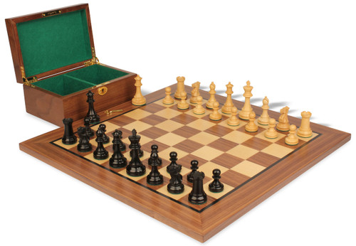 "British Staunton Chess Set Ebonized & Boxwood Pieces with Walnut Board & Box - 4"" King"