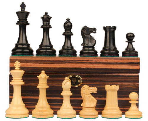 "British Staunton Chess Set Ebonized & Boxwood Pieces with Macassar Ebony Chess Box - 4"" King"