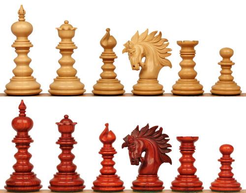 """Strategos Staunton Chess Set with Padauk & Boxwood Pieces - 4.25"""" King"""