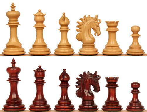 "Marengo Staunton Chess Set with Padauk & Boxwood Pieces - 4.25"" King"