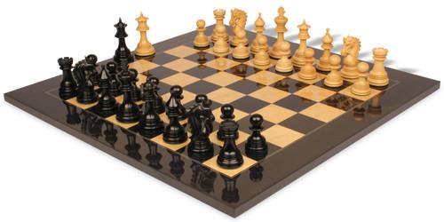 "Hadrian Staunton Chess Set Ebony & Boxwood Pieces with Black & Ash Burl Chess Board - 4.4"" King"