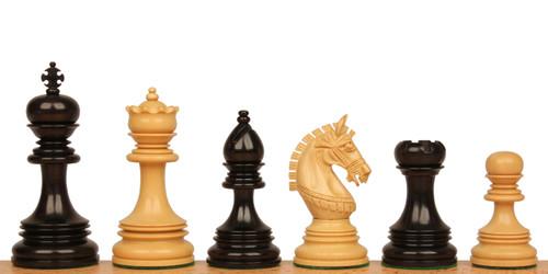 "Chetak Staunton Chess Set Ebony and Boxwood Pieces 4.25"" King"