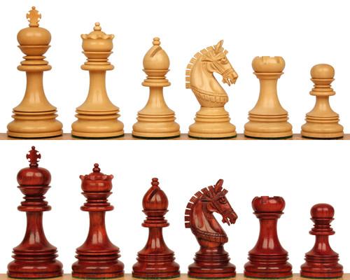 "Chetak Staunton Chess Set with Padauk & Boxwood Pieces - 4.25"" King"
