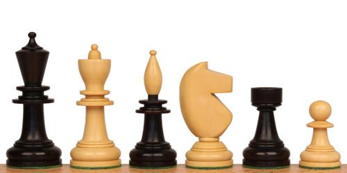 Hungarian Antique Reproduction Chess Set Ebonized & Boxwood Pieces