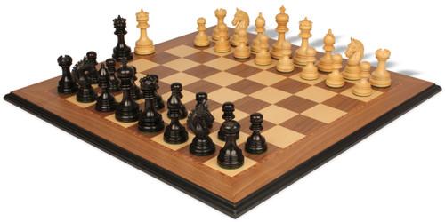"Chetak Staunton Chess Set in Ebony & Boxwood with Walnut& Maple Moulded Edge Chess Board - 4.25"" King"